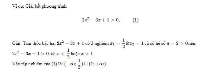 bài tập giải bất phương trình bậc 2