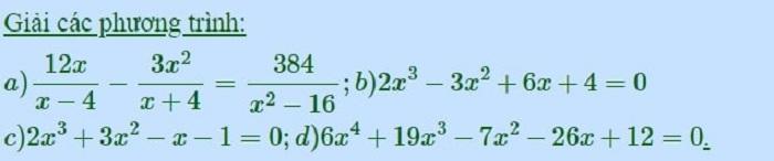 Bài tập giải phương trinh bậc 3