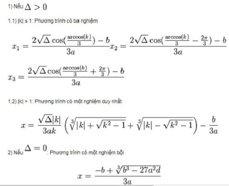 Công thức nghiệm phương trình bậc ba trong trường hợp Delta >= 0