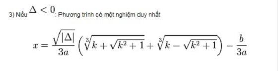 Công thức nghiệm phương trình bậc ba trong trường hợp Delta < 0
