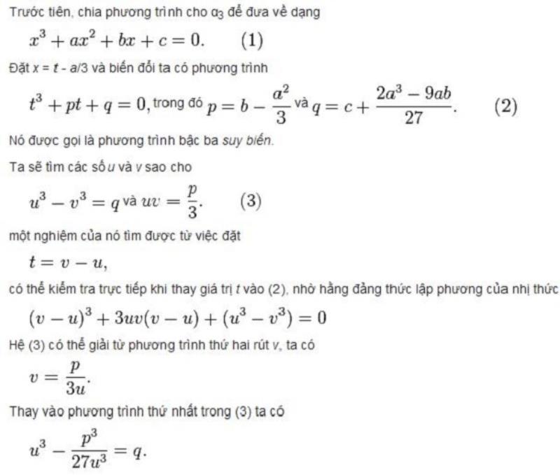 Các giải phương trình bậc ba thường gặp