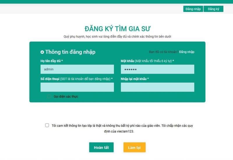 Đăng ký tài khoản tìm gia sư miễn phí trên Vieclam123.vn đơn giản.