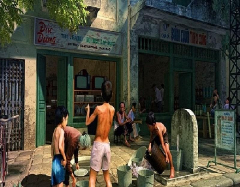 Với kinh tế nghèo nàn, máy nước công cộng là hình ảnh thường thấy trên các con phố ở Hà Nội.