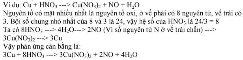 Bài tập ví dụ về cách xuất phát từ nguyên tố chung nhất.