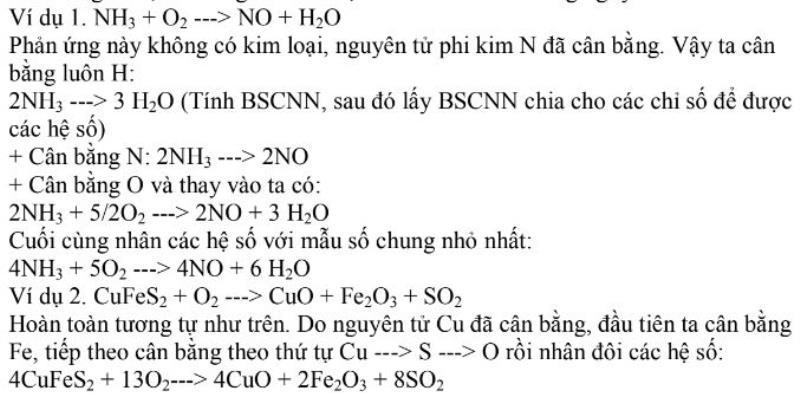 Bài tập ví dụ về cách cân bằng theo trình tự kim loại – phi kim