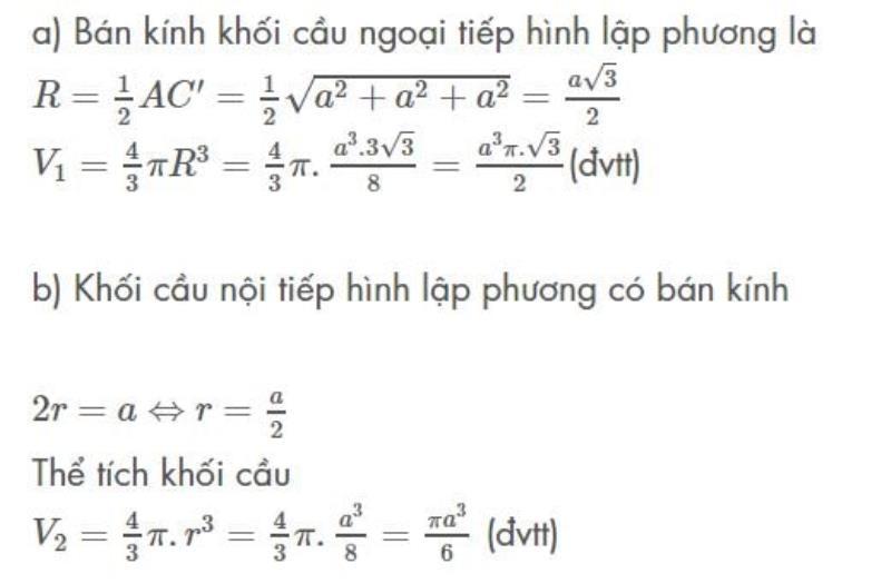 Tính thể tích khối cầu hình lập phương.